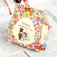 Flower Theme wedding  favor candy boxes party hnoey gifts packing paper chocolate packaging , 200pcs/lot,   Free shipping