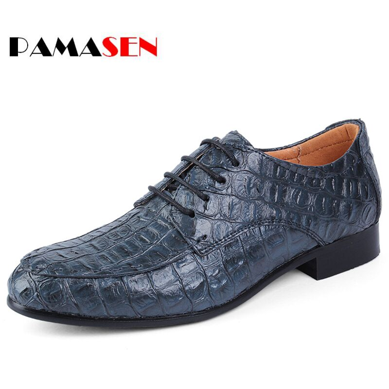 PAMASEN New Big Size 35-50 Spring Crocodile pattern Business Men Shoes Genuine Leather Soft Casual Breathable Mens Flats Shoes<br>
