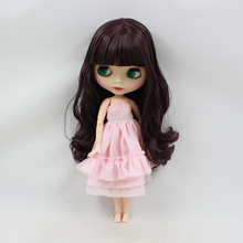 free shipping factory blyth doll BL135950 deep purple mix black hair with bangs/fringes matte frosted face gift toy  joint body