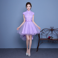 elegant party dresses sexy high neck short front for long back high low Lavender cocktail dress the girls made in china H3869