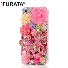 Handmade Bling Rhinestone Diamond Butterfly Colorful Flowers Pearl Hard Back Phone Case Cover For iPhone5 iPhone 5 5G 5S SE(China)