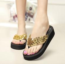 37f43bddea1267 Glod Women Platform Sandals Wedge Flip Flops Sapato Feminino High Heel  slippers Sandalias Mujer Plataforma Chanclas