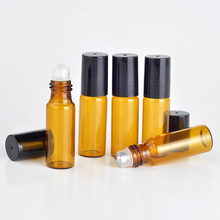 Amber Roller Ball Essential Oil Perfume Bottles 3ml 5ml 10ml Roll On Glass Bottles Roller Ball For Perfume Essential Oil Bottles(China)