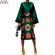 African Vintage Dress Polka Retro Printed Bodycon Women Summer Long Sleeve Plus Siz Maxi Long Dress Temperament Elegant Summer D(China)