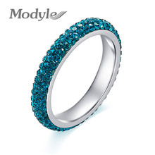 Modyle Full Size three row clear blue crystal Stainless steel Wedding rings fashion jewelry Made with Genuine CZ Crystals(China)