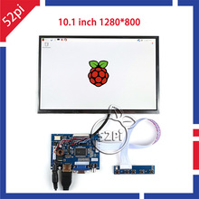 52Pi дюймов 1280 дюймов ips 10,1*800 ЖК-Дисплей HDMI монитор TFT ЖК-экран HDMI + VGA + 2AV драйвер платы для Raspberry Pi/Windows(China)