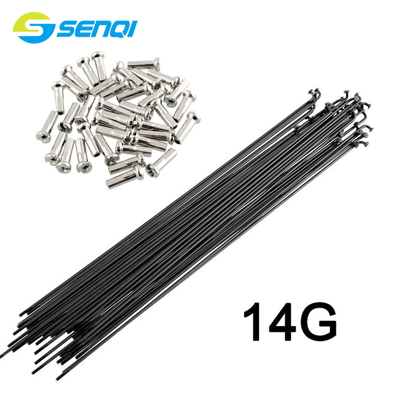 36 Pcs Mountain / Road Bike Steel 14G/14K Spokes Black Colour High Strength Bicycle Spokes 170mm-350mm BZN001