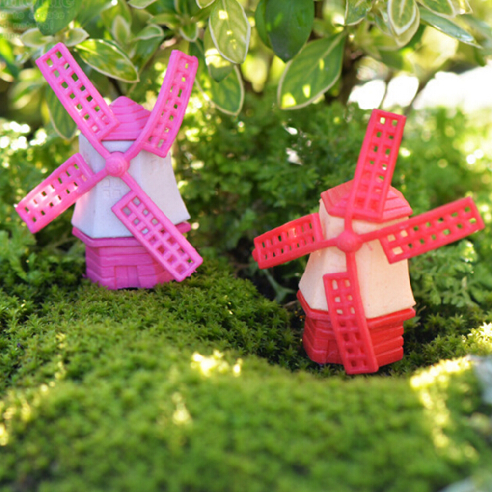 NEW Micro Miniature Moss Landscape Ecology Windmill Ornaments Model Fleshy Garden Decoration Wholesale