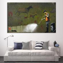 1 Pcs Banksy Art Ancient Mural Wall Painting Prints on Canvas Abstract Clear Street Graffiti Painter Spray Painting for Office(China)