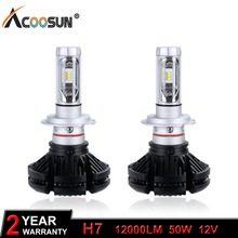 H7 LED Car Light Bulb LED Headlight Bulbs 12000LM 50W 12V LED H7 Auto Replacement Parts lamp Change the light color in one Lamp(China)