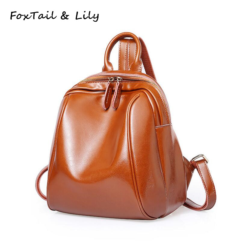 FoxTail &amp; Lily Wax Cowhide Vintage Women Backpack Genuine Leather School Backpacks for Girls Casual Small Travel Bags Designer<br>