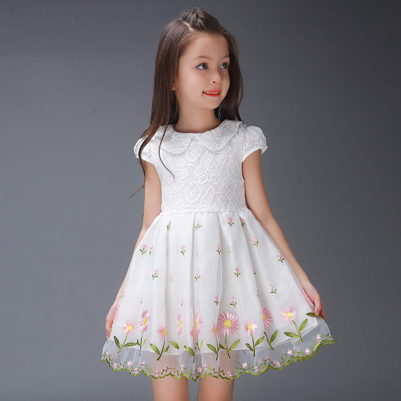 1pc flower embroidery girls dresses princess style children summer dress vestidos party wedding vestido 2016 new free shipping<br>