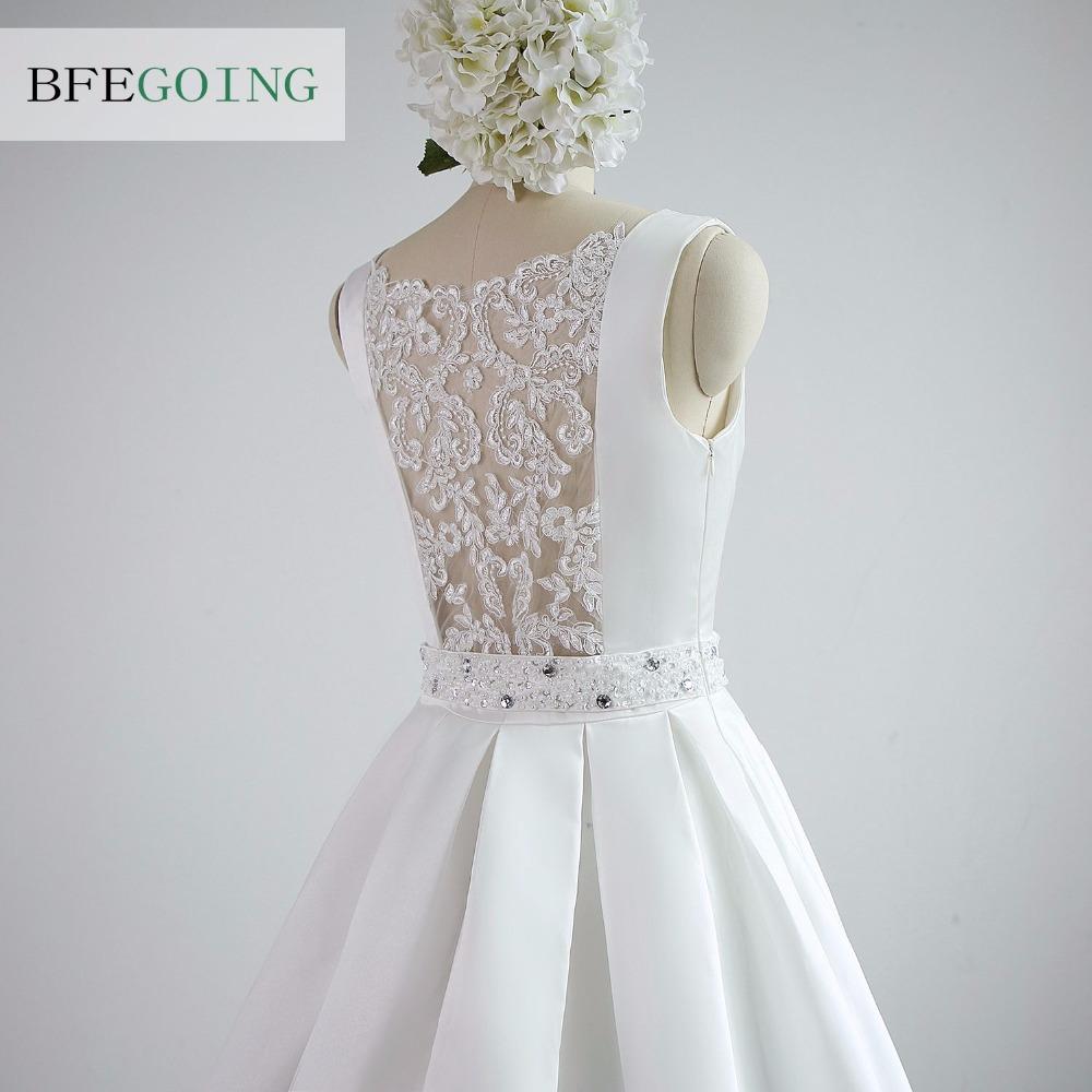 A-line Satin Boat Neck Wedding dress Floor-Length Chapel Train Sleeveless Beading Belt Real/Original Photos Custom made 7