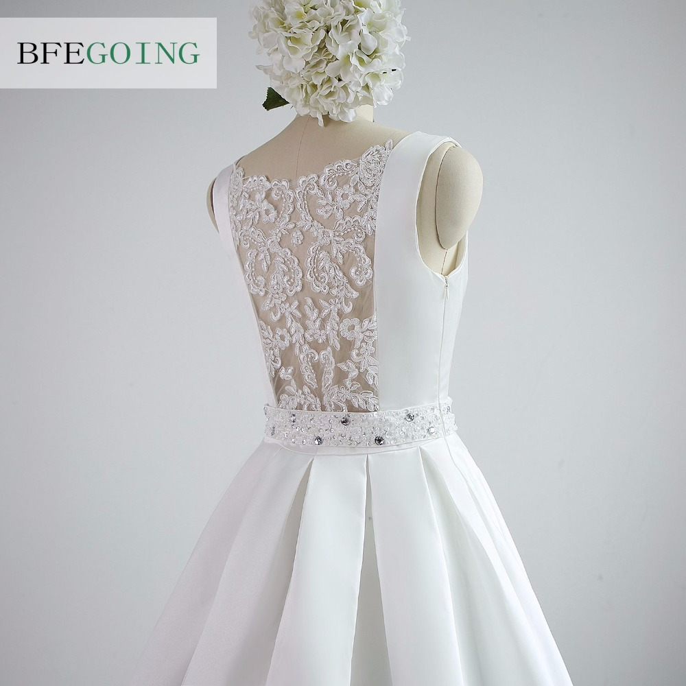 A-line Satin Boat Neck Wedding dress Floor-Length Chapel Train Sleeveless Beading Belt Real/Original Photos Custom made 7