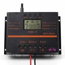 60A PWM Auto Switch intelligent Solar Charger Controller 12V/24V LCD display Discharge With USB Fr Solar Battery Panel Regulator
