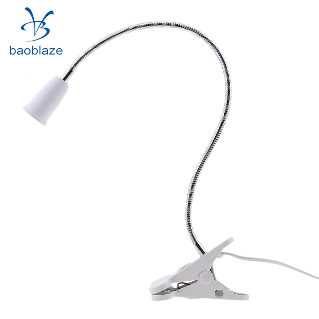 50cm Flexible Extension LED Light Bulb Socket Holder Clip on Switch For E27 Desk Table Bedlamp Converter Adapter + 1.6M Cable
