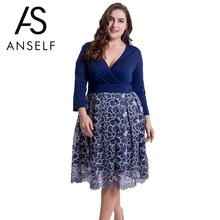 ANSELF Autumn Sexy Women Plus Size Lace Dress Floral Deep V Neck 3/4 Sleeves Side Zipper Casual Oversize Party Dresses XXXL 4XL(China)