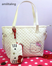 New Hello kitty White Handbag Shoulder Tote Bag Purse with Phone / Coin Bag yey-18C(China)