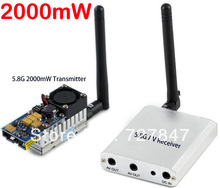 rc plane parts 5.8G FPV 2W 8Ch 2000mW Wireless Audio Video Transmitter AV Sender+ RC305 Receiver Kit,Double lines AV output(China)