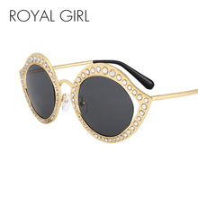 ROYAL GIRL Crystal Circle Sunglasses For Women Vintage Brand Designer Eyeglasses ss052(China)