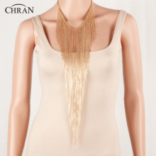CHRAN Unique Brand Jewlery Costume Women Accessories Promotion Fashion Gold Color Charm Tassels Body Necklace Chain Jewelry(China)