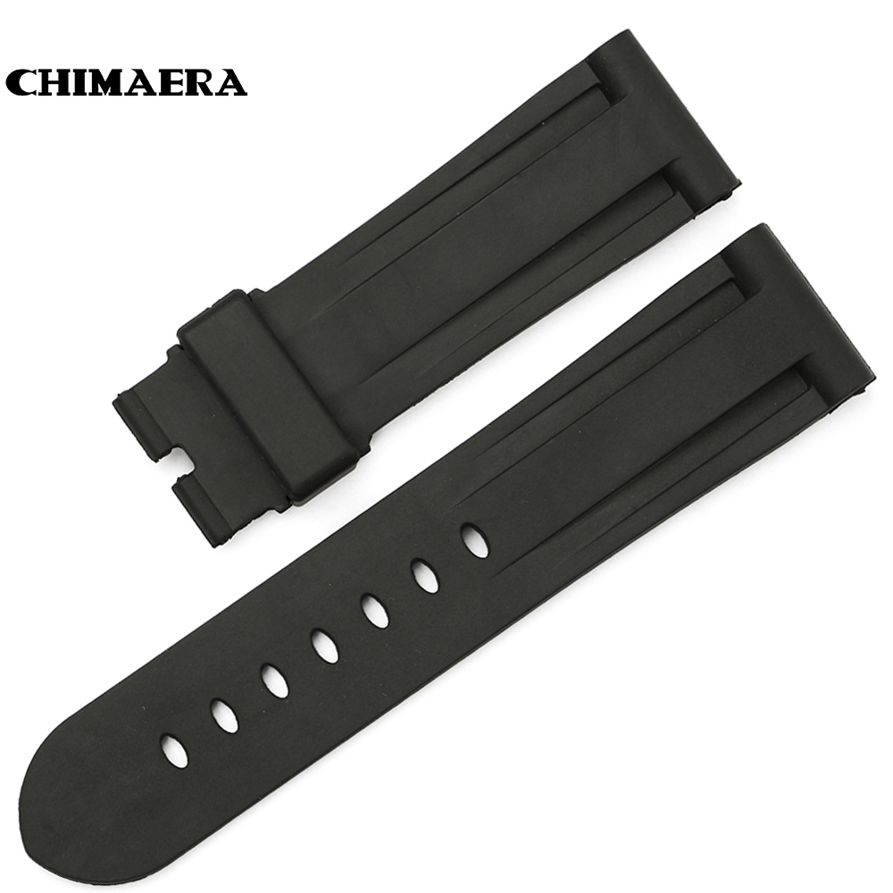 CHIMAERA New Fashion 24mm Black Rubber Watch Strap Watchband Rubber Watch Strap High Quality Wrist Watch Band For Hours Panerai<br><br>Aliexpress