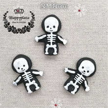 10pcs Resin Halloween Skeleton Flatback Cabochon Miniature Art Supply Decoration Charm Craft, 26*32mm(China)