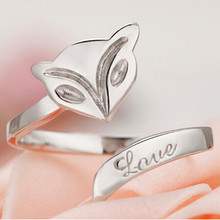 New Fashion Punk Style Open Adjustable Silver Animal Fox Rings Women Wedding/Party/Dance Jewelry Accessories