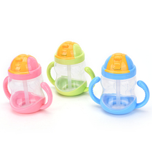 3 Colors 1PC 280ML infant Baby Feeding Bottle Nursing Bottle Feeding water bottle kids Straw Cup Drinking Sippy Cups With handle