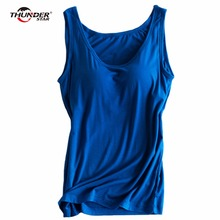 THUNDER STAR Women Built In Padded Bra Tank Top Night Sleepwear Breathable Camisole Solid Push Up Basic Tops Bra Vest LX3(China)