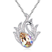 Korea Trendy Jewelry Swan Necklace Pendants Crystal from Swarovski Women Vintage Fashion Jewelry 20790