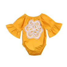 2018 new hot summer solid baby girls lace flare sleeves bodysuit baby onesie Yellow(China)