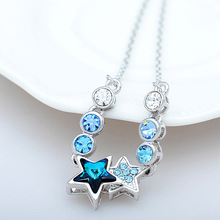 Austrian natural Blue Crystal 925 Sterling silver short necklace women jewelry Oriharcon pendant star high-end manufacturers