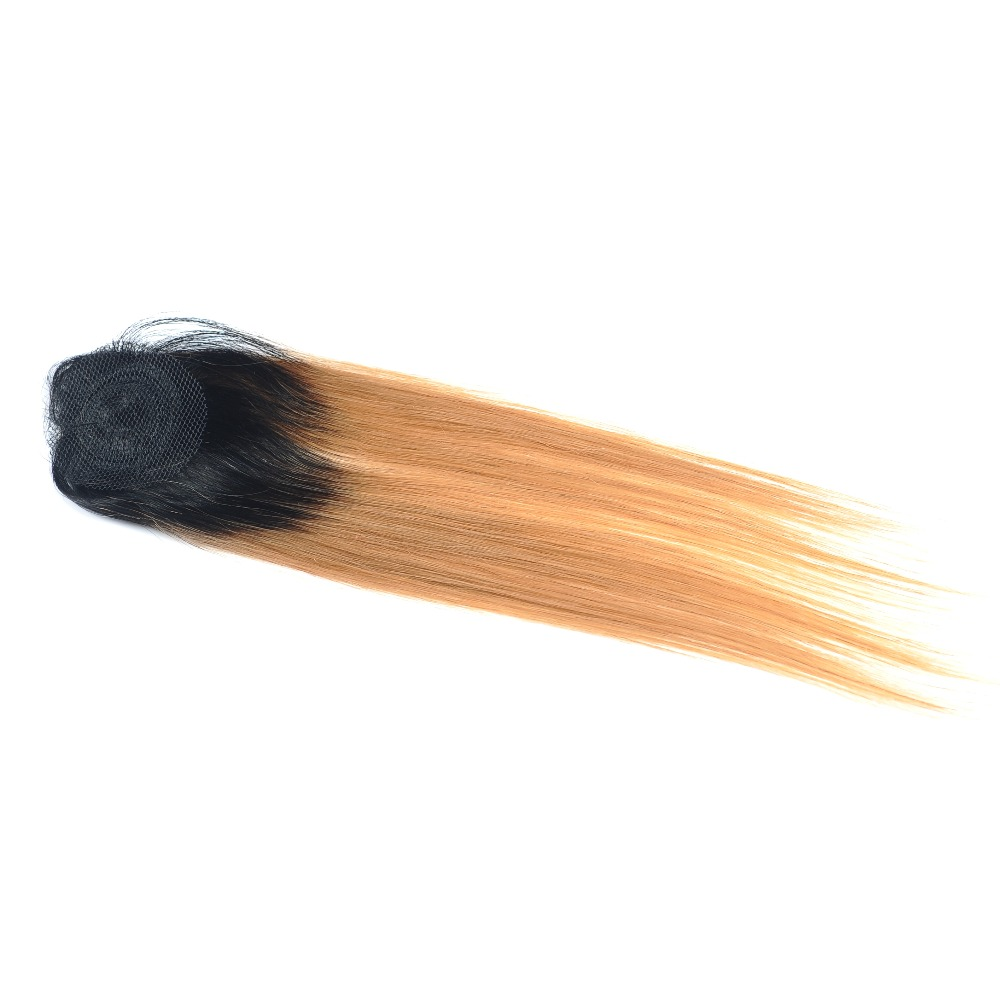 Pinshair Pre-Colored Honey Blonde 1B 27 Brazilian Straight Hair Bundles With Closure Ombre Dark Roots Human Hair Nonremy No Shed (1)22