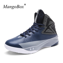 Hot Sell Mens Sport Basketball Sneakers Leather Comfortable Men Women Athletic Trainers High Top Sport Shoes Gym Boots Men(China)