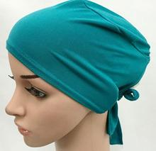 (Can choose colors) Solid color plain muslim underscarfs innder hijab caps with tie