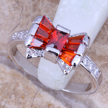 Unusual White CZ Red  Garnet Silver Stamped 925 Women's Jewelry Ring Size 6 / 7 / 8  R0719