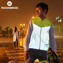 ROCKBROS Reflective Cycling Jersey Sleeveless Men Sportswear Bicycle Vest Windproof Safety Fluorescence Bike Breathable Jersey