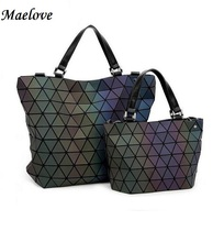 Maelov Famous Logo bag-Women Geometry Sequins Mirror Saser Plain Folding Bags BaoBao Bag Casual Tote Luminous Handbags  Bao Bao