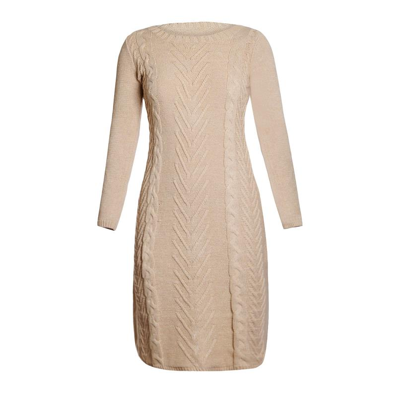 ADEWEL 2018 Spring Women Long Sleeve Bodycon Sweater Dress Casual Hand Knitted Midi Dress Elegant Inner Wear Womens Dresses (5)