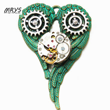 steampunk gothic punk rock owl heart wings watch parts collar brooch pins pendant chain men women vintage jewelry halloween gift(China)