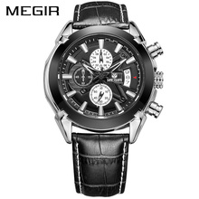 MEGIR Original Relogio Masculino Chronograph Men Watches Top Brand Luxury  Military Watch Men Genuine Leather Reloj Wristwatches