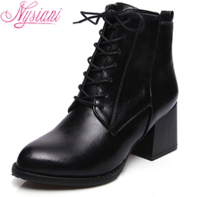 Thick High Heels Ankle Boots For Women 2017 New Autumn Shoe Brand Designer Fashion Lace Up Pointed Toe Women Ankle Boots Nysiani