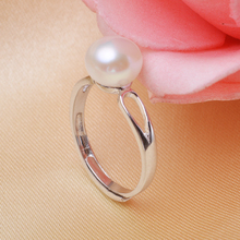 Big Sale 925 Sterling Silver Simple Pearl Ring 100% Real Freshwater Pearl Adjustable Size Ring Fashion Jewelry  For Women