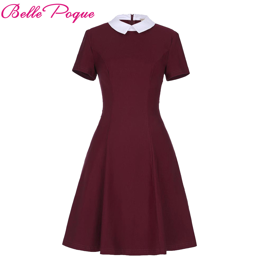 Belle Poque Women Elegant Stand Rockabilly Pin Up Clothes Short Sleeve Office Dress Pencil Vintage Midi Bodycon Summer Dresses(China)