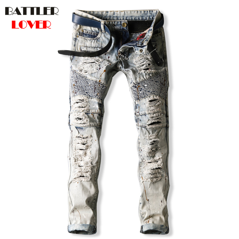Jeans Men Pants Fear of God Trousers Denim Motorcycle Pant Boost Biker Man Masculina Ripped Balmai Slim Fit Joggers High Quality