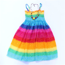 2017 New Summer Bohemian Girls Dress Rainbow Girls Beach Dresses Princess Dress Cotton dresses for girls with necklace