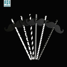 25 pcs/lot  black and white  with Mustache  Sticker Paper Drinking Straws Creative Drinking Tubes Party Supplies For Wedding