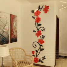 DIY Flowers Wall Stickers Acrylic Sticker Home Decoration Accessories 3d Butterfly Wall Sticker Modern Design for Living Room