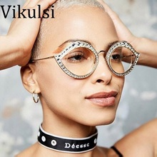 2017 Cat Eye Crystal Decoration Round Women Clear Sunglasses Reinforcing Metal Hinge Luxury Rose Gold Clear Eyewear UV400 Shades(China)